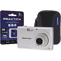 Praktica Luxmedia Z250  20MP  Digital Camera Kit 5x Optical Zoom 2.7 inch LCD  Silver  with 8GB SDHC Memory Card and Compact Camera Case