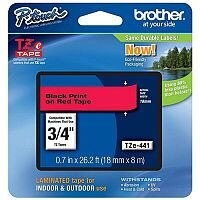 Brother P-touch TZe-441 18mm x 8 Black On Red Laminated Labelling Tape