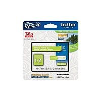 Brother P-touch TZe-MQG35 12mm x 5m White On Lime Green Matt Laminated Labelling Tape
