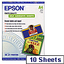 Epson Inkjet Labels (A4) Photo Quality Self-Adhesive Sheets (10 Sheets) 167gsm (White)