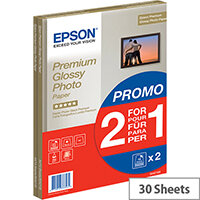 Bundle: Epson A4 Glossy Premium Photo Paper (2x15 Sheet Pack)