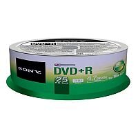 Sony DVD+R Recordable Media 16x - 4.70GB Spindle 120mm (Pack of 25) 25DPR47SP