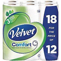 Triple Velvet Toilet Roll  White  Pack of 18