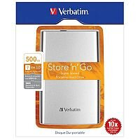 Verbatim Store n Go 500GB Portable Hard Drive USB 3.0 External (Silver)