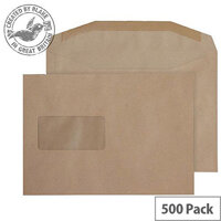 Purely Everyday Mailer Gummed Window Manilla 80gsm C5+ 162x235mm (Pack of 500)