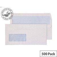 Purely Everyday Wallet Envelopes Self Seal Low Window White 110gsm 110x220mm Pack of 500