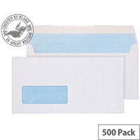 Purely Everyday DL White Wallet Window Envelopes 100gsm Pack of 500