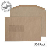 Purely Everyday Manilla Gummed Mailing Wallet Window C5+ 162x238 (Pack of 500)