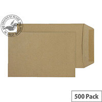 Purely Everyday Pocket Envelopes Gummed Manilla 80gsm 229x102mm Pack of 500