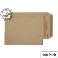 Purely Everyday Pocket Envelopes Self Seal Manilla 90gsm 254x178mm Pack of 500