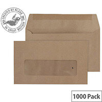 Purely Everyday Wallet Envelopes Gummed Window Manilla 70gsm 89x152mm Pack of 1000