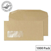 Purely Everyday Manilla DL Envelopes Mailer Wallet Window Gummed 80gsm Pack of 1000