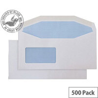 Purely Everyday DL+ White Envelopes Mailer Wallet Reverse Window Gummed 110gsm Pack of 500