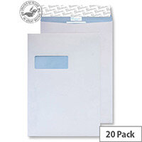 Blake Premium Secure White C4 Envelopes Peel and Seal Pocket Window 125gsm Pack of 20