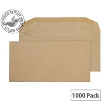 Purely Everyday Manilla DL+ Envelopes Mailer Wallet Gummed 80gsm Pack of 1000