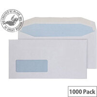 Purely Everyday White DL Envelopes Mailer Wallet Window Gummed 90gsm Pack of 1000