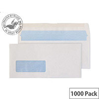 Purely Everyday Wallet Envelopes Gummed Window White 80gsm 102x216mm Pack of 1000