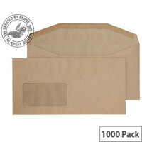 Purely Everyday Manilla DL+ Envelopes Mailer Wallet Window Gummed 80gsm Pack of 1000