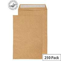 Purely Everyday Pocket Envelopes Peel and Seal Manilla 115gsm 381x254mm Pack of 250