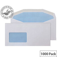 Purely Everyday White DL+ Envelopes Mailer Wallet Gummed CBC Window 90gsm Pack of 1000