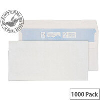 Purely Environmental DL Wallet Self Seal White Envelopes 90gsm Pack of 1000