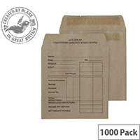 Purely Everyday Pocket Envelopes Self Seal Manilla 80gsm 108x102mm Pack of 1000