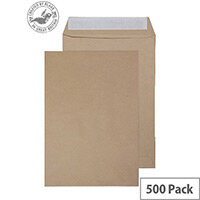 Purely Everyday Pocket Envelopes Peel and Seal Manilla 115gsm 254x178mm Pack of 500