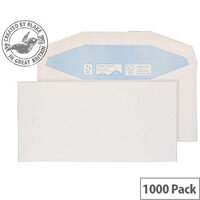 Purely Environmental White DL Envelopes Mailer Wallet Gummed 90gsm Pack of 1000