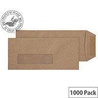Purely Everyday Pocket Envelopes Gummed Low Window Manilla 80gsm 229x102mm Pack of 1000