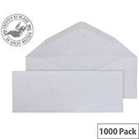 Purely Everyday Banker Invitation Envelopes Gummed White 90gsm 80x215mm Pack of 1000