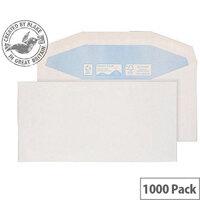 Purely Environmental White DL+ Envelopes Mailer Wallet Gummed 90gsm Pack of 1000