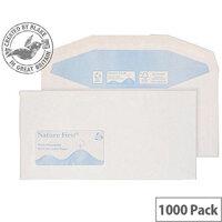 Purely Environmental White DL+ Envelopes Mailer Wallet Window Gummed 90gsm Pack of 1000