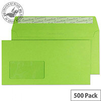 Creative Colour Lime Green Window DL+ Wallet Envelopes (Pack of 500)