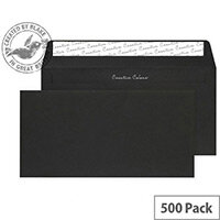 Creative Colour Jet Black DL+ Wallet Envelopes (Pack 500)