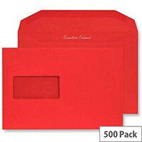 Creative Colour Pillar Box Red Window C5+ Wallet Envelopes (Pack of 500)