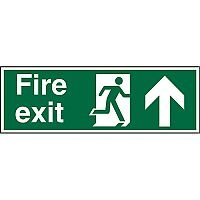 Prestige Signs 2mm 300x100 Fire Exit Man Running Right & Arrow Pointing Up