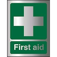 Brushed Aluminium Effect Acrylic Sign 2mm 150x200 First Aid