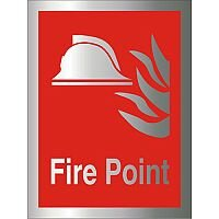 Brushed Aluminium Comp Sign 150x200 1.5mm Fire Point Self Adhesive