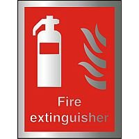 Brushed Aluminium Comp Sign 150x200 1.5mm Fire Extinguisher Self Adhesive