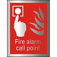 Brushed Aluminium Comp Sign 150x200 1.5mm Fire Alarm Call Point Self Adhesive