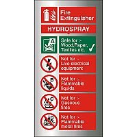 Brushed Aluminium Sign 100x200 1.5mm Fire Extinguisher Hydrospray Self Adhesive
