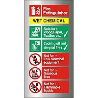 Brushed Aluminium Sign 100x200 1.5mm Fire Extinguisher-Wet Chemical Self Adhesive