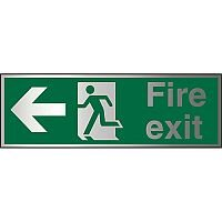 Brushed Aluminium Sign 1.5mm S/A Fire Exit Man Running & Arrow Pointing Left