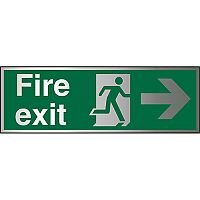 Brushed Aluminium Sign 1.5mm S/A Fire Exit Man Running & Arrow Pointing Right