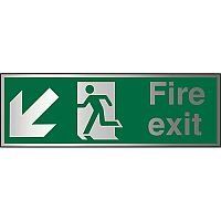 Brushed Alu Sign 1.5mm S/A Fire Exit Man Running Arrow Pointing Down Left