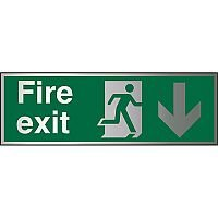 Brushed Aluminium Sign 1.5mm S/A Fire Exit Man Running Right & Arrow Pointing Down