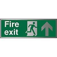 Brushed Aluminium Sign 1.5mm S/A Fire Exit Man Running Right & Arrow Pointing Up