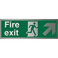 Brushed Aluminium Sign 1.5mm S/A Exit Man Running Right & Arrow Pointing Up