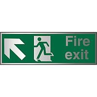 Brushed Aluminium Sign 1.5mm S/A Fire Exit Man Running Arrow Pointing Up Left