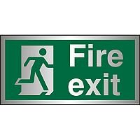 Brushed Aluminium Sign 300x150 1.5mm S/A Fire Exit Man Running Right